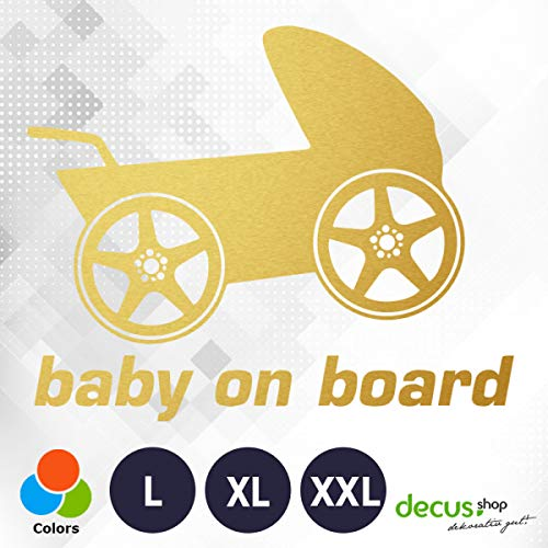 Decus Baby on Board kinderwagen 0181 // sticker OEM JDM Style sticker XXL (ca. 60x50 cm) goud metallic