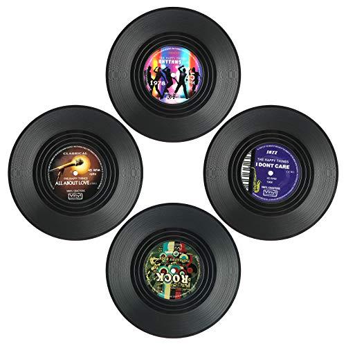 Coolty - Sottobicchieri in vinile con disco CD, antiscivolo, 4 pezzi, 10 x 10 x 0,2 cm