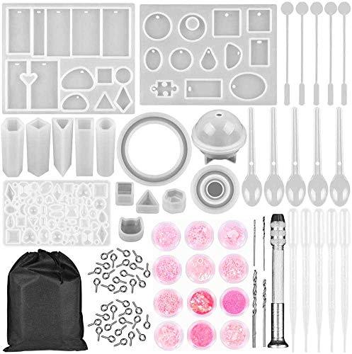 Sayiant Kit de moldes de resina de fundición para pulseras, colgantes, moldes de silicona, creativos, hechos a mano, para manualidades, para colgantes, pulseras, llaveros, artesanías