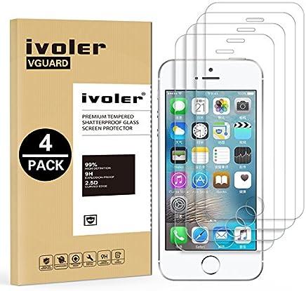 iVoler [4 Unidades] Protector de Pantalla para iPhone SE / 5S / 5 / 5C, Cristal Vidrio Templado Premium [9H Dureza] [Alta Definicion 0.3mm] [2.5D Round Edge] - Transparente