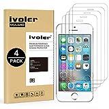 ivoler [Lot de 4] Verre Trempé pour iPhone Se / 5S / 5 / 5C [Garantie à Vie], Film Protection en Verre trempé écran Protecteur...