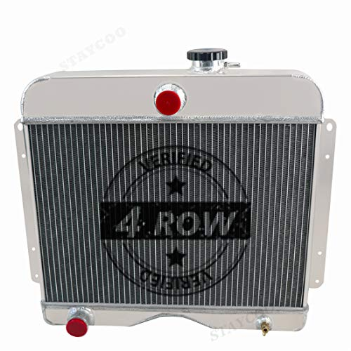 STAYCOO 62MM 4 Row All Aluminum Radiator for 1946-1964 Jeep Willys/Station Wagon/Pickup/Truck 2.2 2.6