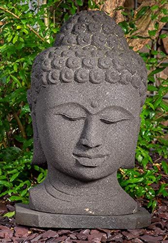 IDYL Lavastein Stein-Figur Buddhakopf  Frostfest   Höhe 60 cm   Asiatische Garten-Dekoration   massives Naturprodukt   Echtstein Lava  schwarz