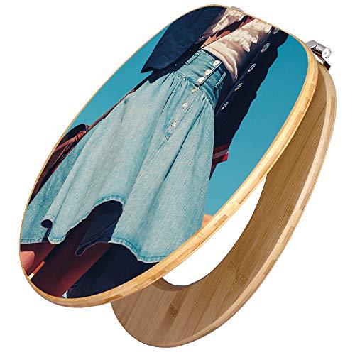 BANJADO Design Toilettensitz in Bambus, WC-Sitz Holz Bambus 44x38x5cm, Klodeckel mit Universal Scharnieren, Toilettendeckel mit Motiv Flussfahrt