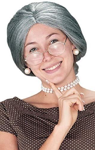 Femmes Gris Vieux Femmes Mamie Court Costume Déguisement Perruque