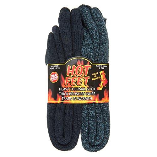 Hot Feet Cozy, Heated Thermal Socks for Men, Warm, Patterned Crew Socks, USA Men's Sock Sizes 6 – 12.5 - Hot Feet (Denim Heather/Dark Navy) (2 - Pack)