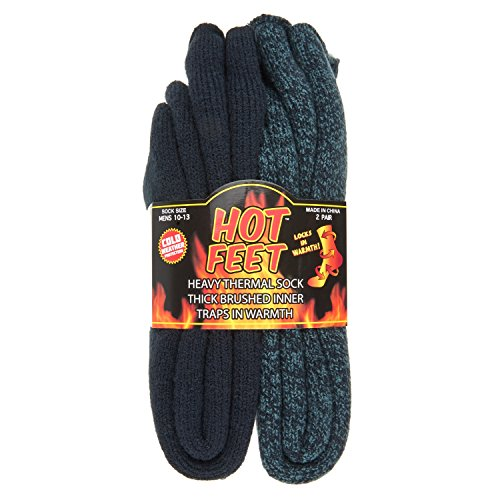Hot Feet Cozy, Heated Thermal Socks for Men, Warm, Patterned Crew Socks, USA Men's Sock Sizes 6 – 12.5 - Hot Feet (Denim Heather/Dark Navy) (2 - Pack)
