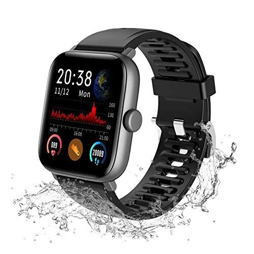 Lucky-M - Reloj Inteligente con Pantalla táctil Completa de 1,54 Pulgadas para iOS Android, Monitor de Actividad física Impermeable IP68 Hombres Mujeres Bluetooth rastreador de Actividad (Negro)