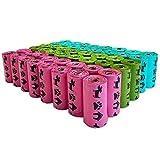 PET N PET Unscented Dog Poop Bag 720 Counts Rainbow Muliti Color Dog Poop Bags Refill Rolls Standard and EPI Additive Dog Waste Bags