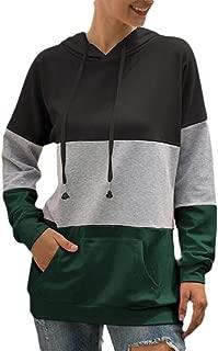 Women's Casual Color Block Pocket Hoodie Long Sleeve Sweatshirt