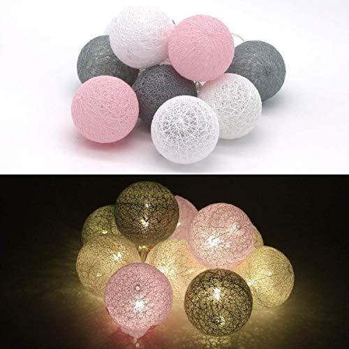 Tronje LED 10 Bolas de Algodón Luces 6cm 4h Temporizador 1,9m Guirnalda de luz Gris-Rosa cálida funciona con Pilas