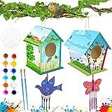 SPECOOL 2 Juegos Casa de Pajaros Madera Carillón de Viento, Pintura Manualidades Niños, Decoración Artesanal de Madera para Actividades en el Hogar