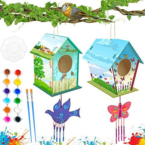 specool 2 Sätze DIY Holz Vogelhaus Windspiel Basteln für Kinder, Vogelhaus zum Aufhängen Holz Bausatz Vogelhaus Selber Bauen für Geburtstag Kinder
