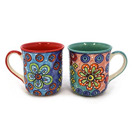 Gall&Zick Tasse Kaffeetasse Teetasse Geschirr Keramik Bemalt Bunt Set/2