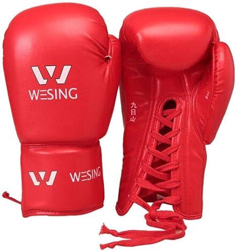 Qiyuezhuangshi01 Gants de Boxe, Gants Sanda Adultes, Compétition Professionnelle Muay Thai Fight Training Sandsac Tether Gants Corde Gants, Rouge Bleu Noir, Haute Qualité Choix pour Les a