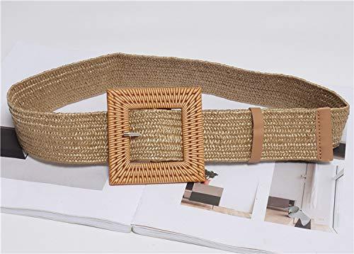 OIUYT Las Mujeres Atractivas Round elástico Cinturones Casual Chica cuadradas de Madera Hebilla de Paja Trenzada de la Correa Tejida Pretina (Color : White)