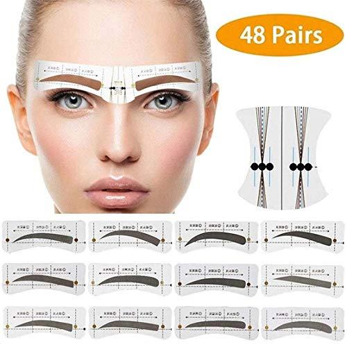 48 Pairs Augenbrauen-Form-Aufklebe Schablone, für Augenbrauen Einweg-Tattoo-Aufklebe, mit 6 wiederverwendbaren Schablonen Werkzeugen