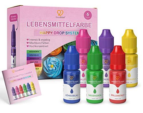 GoodBake Lebensmittelfarbe, 6 Farben Set, hochkonzentriert & zuckerfrei, hochpigmentiert, Schleim, Getränke, Happy Drop System - 6 x 11ml auch für Slime (66ml)