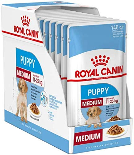 Royal Canin Medium Puppy Junior Wet Dog Food 40 Packs Of 140g Each For Puppies And Young Dogs Of Medium Breeds 11-25kg Up To The Age Of 12 Months