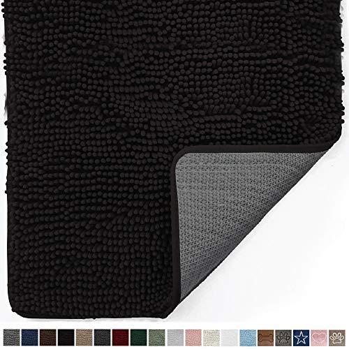 Gorilla Grip Original Indoor Durable Chenille Doormat, 48x30, Absorbent, Machine Washable Inside Mats, Low-Profile Rug Doormats for Entry, Mud Room Mat, Back Door, High Traffic Areas, Black