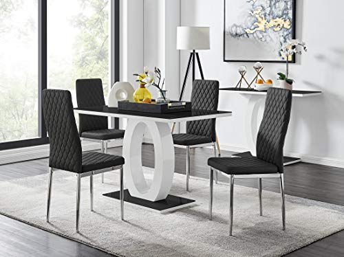 Giovani Black/White High Gloss Glass Dining Table Set and 4 Contemporary Milan Chairs Set (Dining Table + 4 Black Milan Chairs)