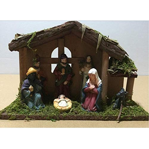 Snow 7 Piece Miniature Christmas Nativity in the Manger Scene Set Decoration Ornament Figurine Handmade Crafts 24X8X16 cm Wall