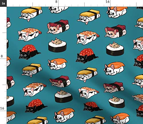 Spoonflower Fabric - Sushi Frenchie French Bulldog Japan Food Cute Kitchen Japanese Funny Printed on Petal Signature Cotton Fabric by The Yard - Sewing Quilting Apparel Crafts Decor