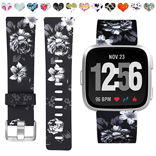 Maledan Bands Compatible with Fitbit Versa Women Men Large Small, Breathable Replacement Strap Accessories Wristbands Compatible with Fitbit Versa Watch