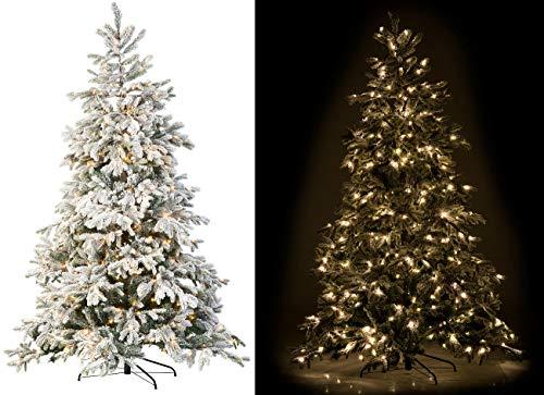 infactory Baum: Künstlicher Weihnachtsbaum, weiße Spitzen, 500 LEDs, 70 Äste, 225 cm (Tannenbaum mit LED-Beleuchtung)
