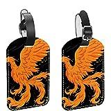 Disegnato a mano Beautiful Phoenix Bird 2 PCS ID Bagaglio Tag Valigia Tag Etichette per bagagli per prevenire la perdita di borse e valigie