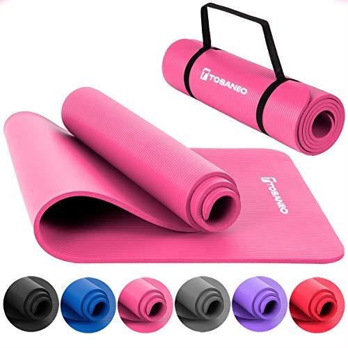 TOSANEO Fitnessmatte mit Tragegurt Gymnastikmatte aus NBR Schaumstoff rutschfeste Sport-Matte für Pilates Workout und Meditation Yogamatte 183x61x1cm Pink