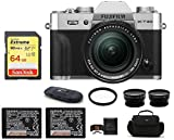 Fujifilm X-T30 Mirrorless Digital Camera with XF 18-55mm f/2.8-4 R LM OIS Zoom (Silver) Bundle, Includes: 64GB Extreme Memory Card, Spare NP-W126S Battery + Telephoto & Wide Angle Lenses + More
