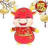 Alto 20 CM / 7.8'Año Nuevo Chino Animal Felpa Buey Mascot Muñeca Suave y lindo Felpa Lucky Cattle Trae suerte, salud y felicidad (Ojos cerrados)
