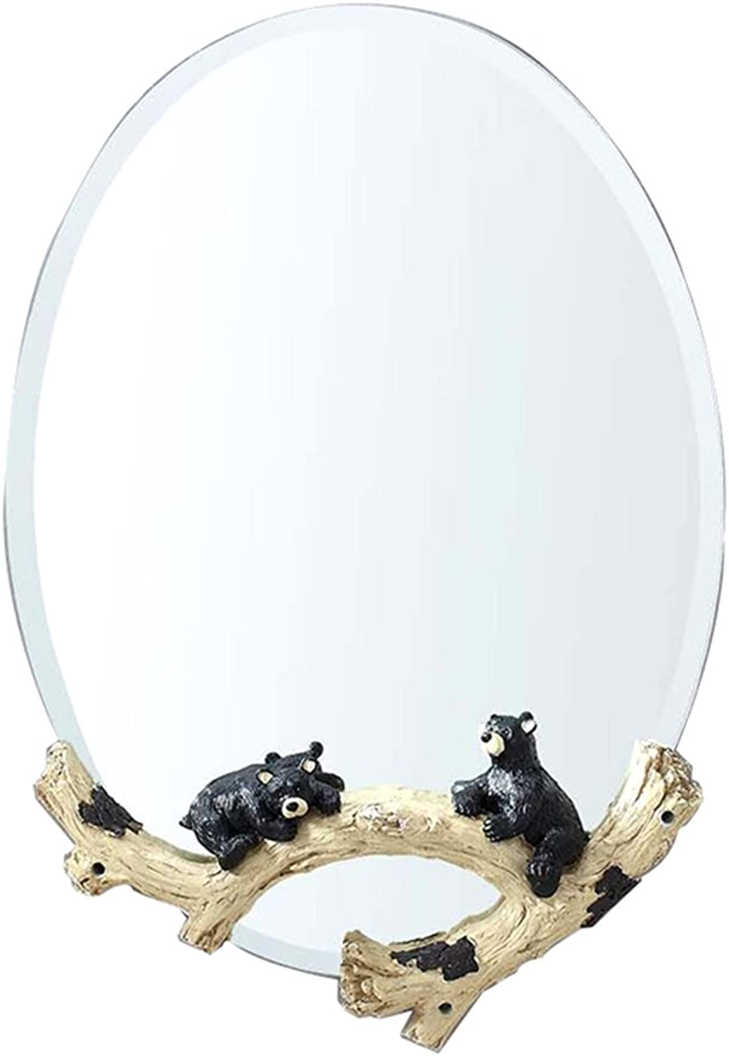 ZHBWJSH European Pastoral Bathroom Mirror Round Mirror Vanity Mirror Decorative Bathroom Mirror Wall Hanging Dressing Table Mirror Hanging Mirror (Size   75  50cm)