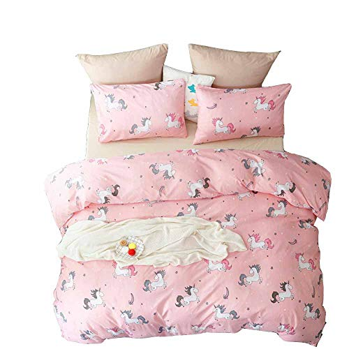 YOMIMAX Unicorn Microfiber Duvet Cover Full 3 Pieces Girls Duvet Cover Set Full(Full,Pink)