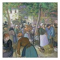 カミーユ・ピサロ《ギザーズの家禽市場》キャンバスアート油絵アートワークポスター画像モダンな壁の装飾家の装飾70x70cm(28x28in)フレームなし