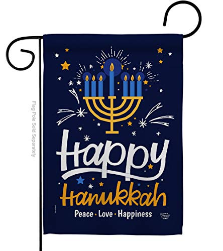 Ornament Collection Happy Hanukkah Garden Flag Winter Candle Bonsai Menorah Jewish Chanukah David House Decoration Banner Small Yard Gift Double-Sided, 13'x 18.5', Thick Fabric
