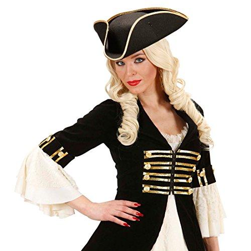 Amakando Tricorne Flibustier Capitaine Couvre-Chef Pirate Captain Jack Sparrow Noir en Feutre Accessoire Carnaval Chapeau général Caraïbes Capitaine