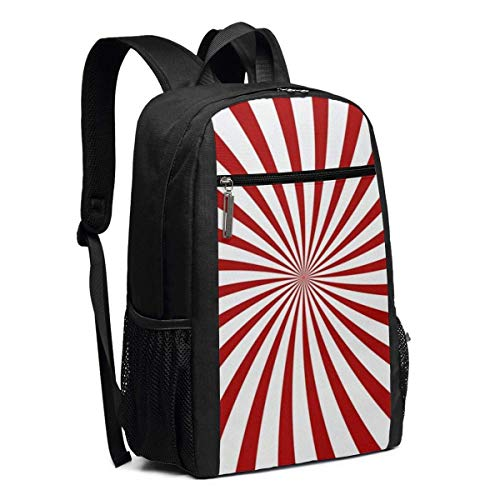 Yuanmeiju Laptop Backpack Red Hypnosis Spiral Pattern Business Travel Computer Bag for Women and Men, College School Backpack Fits in Laptop, Notebook