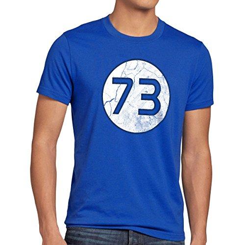 style3 Sheldon Lieblingszahl 73 Herren T-Shirt, Größe:XL;Farbe:Blau