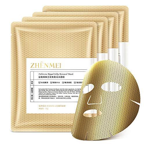 Mascarillas para el cuidado de la piel, hoja de mascarilla facial celular [10 PCS], extracto infundido de fullereno y jalea real, antienvejecimiento, reduce las líneas finas, antiarrugas