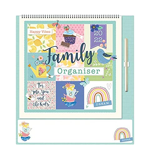 2022 Family Organiser Calendar with Note Board and Pen – Happy Vibes 5918