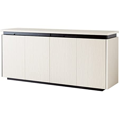 キャビネット 白 サイドボード 160 キッチン リビングボード 黒 ブラウン 完成品 MOA (ホワイト)