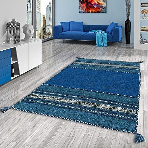 Navarro Natur Teppich Bauwolle Kelim Blau in 6 Größen