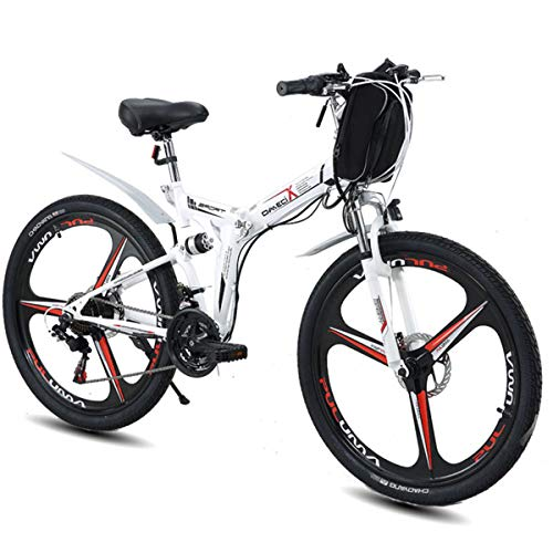 MERRYHE Bicicleta eléctrica Plegable Mountain Road E-Bike Fold Bicycle Adulto 26 Pulgadas City Power Bicycle 48V Batería de Litio ciclomotor,26 Inch White-Three Knife Wheel