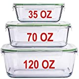 LARGE Glass Containers for Food Storage with Lids Container Baking Dish Set Glass Storage Containers with Locking Lid Set 3 120 OZ/70 OZ/35 OZ Large Glass Meal Storing Serving Food Leakproof Ovensafe