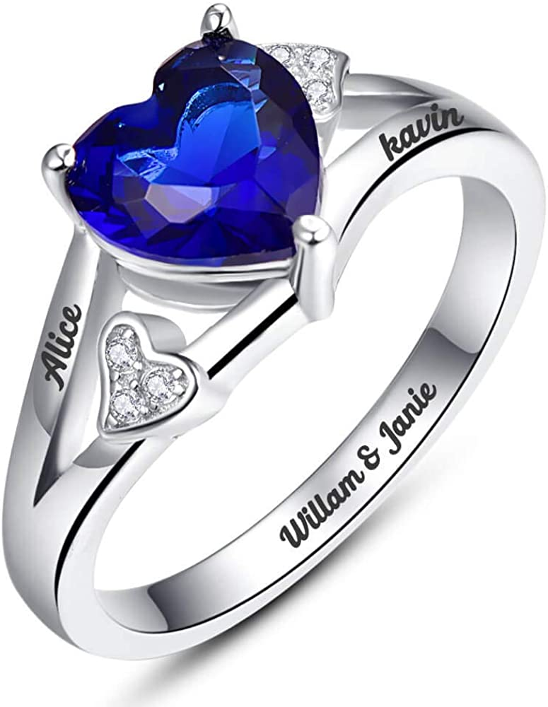 BONLAVIE Max 53% OFF Finally popular brand Heart Rings Sterling Silver Si Mother Personalized with