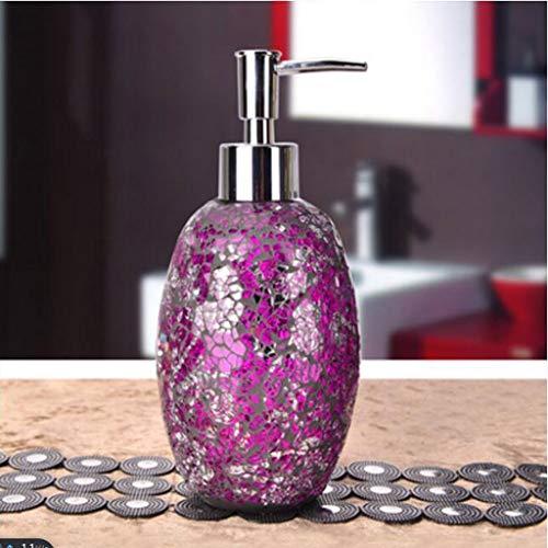 4 Conjunto De Cristal Prensa Tipo Dispensador De Jabón, Mosaico De Vidrio For El Jabón Líquido Orgánico, Accesorios Aceites Esenciales, Inicio De Baño, Lociones Y Líquidos (Color : C, Size : 460ml)