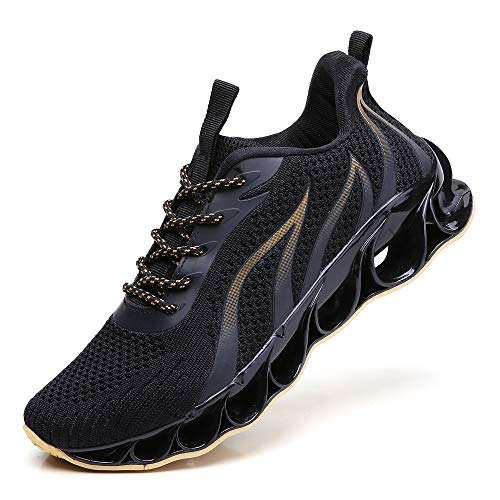 SKDOIUL Men Black Gold Shoes mesh Breathable Comfort Sport Running Athletic Walking Shoes Runner Sneakers Jogging Casual Tennis Trainers Size 11