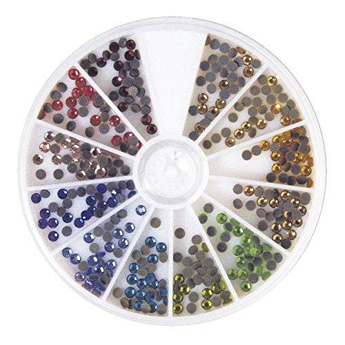 Rayher 15128999 Hotfix Strasssteine aus Glas, 3 mm ø, 12 Farben, Sortierbox 360 Stück, Glas-Strasssteine, Schmucksteine zum Aufbügeln